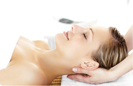 Client having a dermalogica facial at claire durand beauty salon in fulham